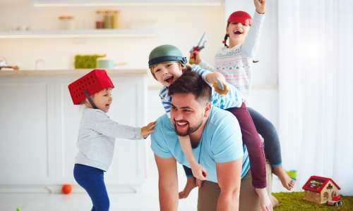 Children and Fathers Exercising